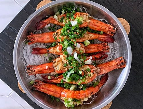 Steamed Garlic Prawns With Vermicelli Recipe